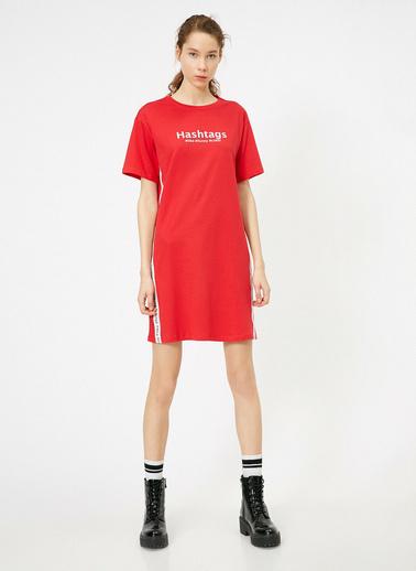 Koton Yazili Baskili Elbise Kırmızı